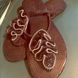 Black sparkly candies women's thong sandals